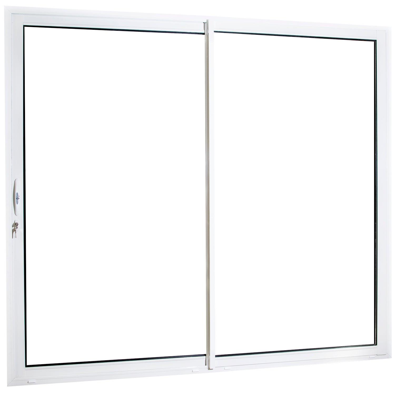 Baie vitrée aluminium blanc Brico essentiel H.215 x l.180 cm | Leroy Merlin