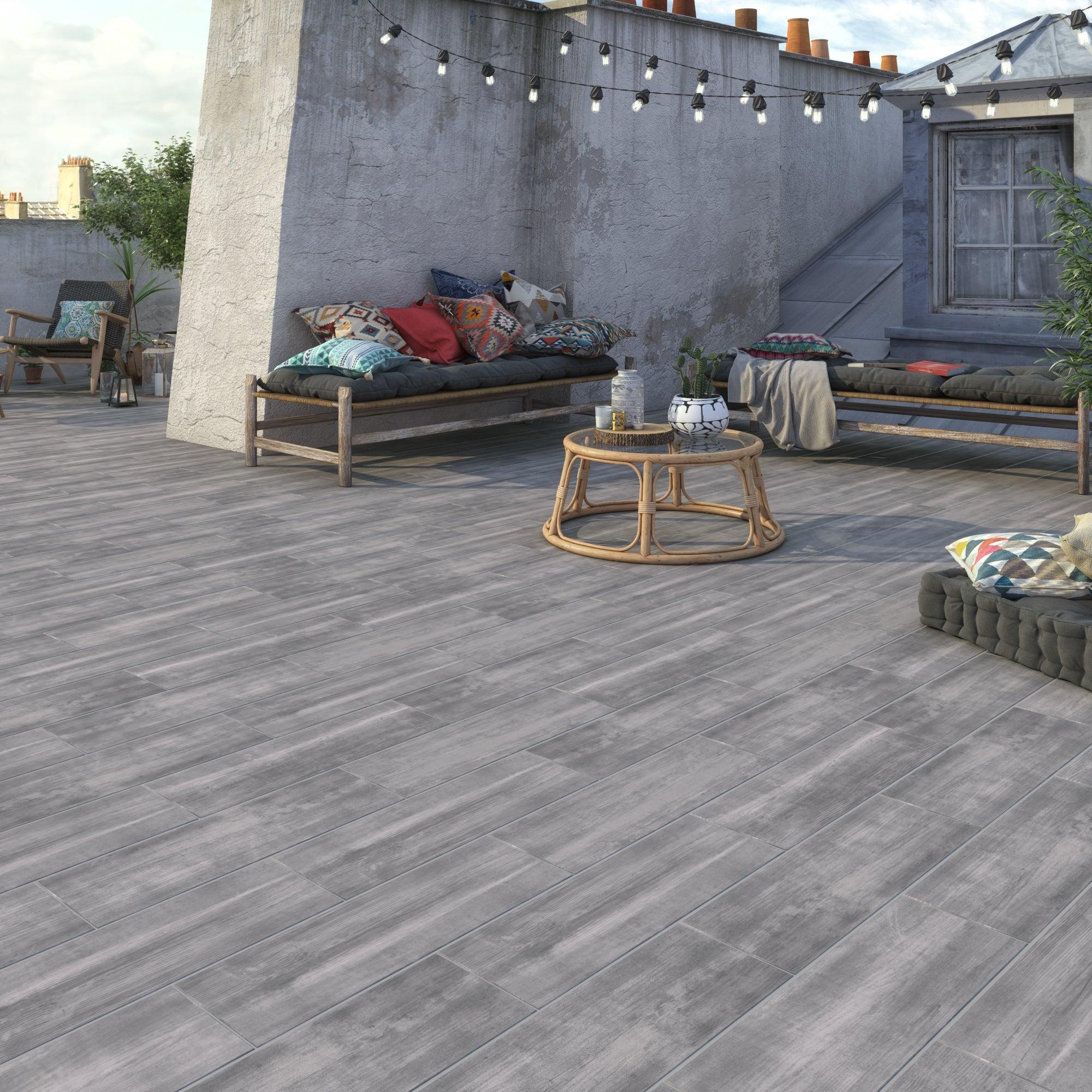 Carrelage sol extérieur forte effet bois gris Apero l.8 x L.8.8 cm