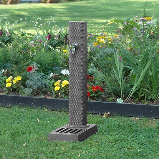 Fontaine de jardin avec vasque en fonte Dommartin Pixel gris 7016