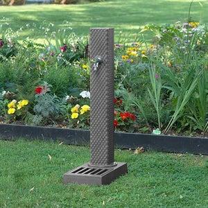 Fontaine de jardin en fonte Dommartin Pixel Gris RAL4111 H92cm 36kg
