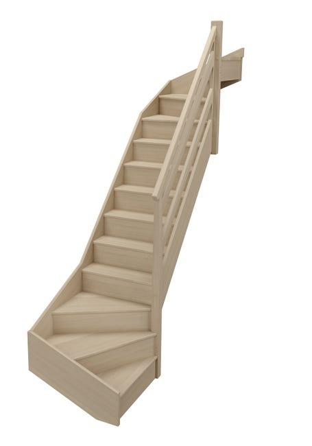 Escalier 1 4 Tournant Bas Et Haut Droit Bois Hetre Soft Wood 14 Mar Hetre L 80 Leroy Merlin