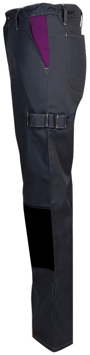 Pantalon de travail FASHION SECURITE Pep's, gris / violet taille 44-46