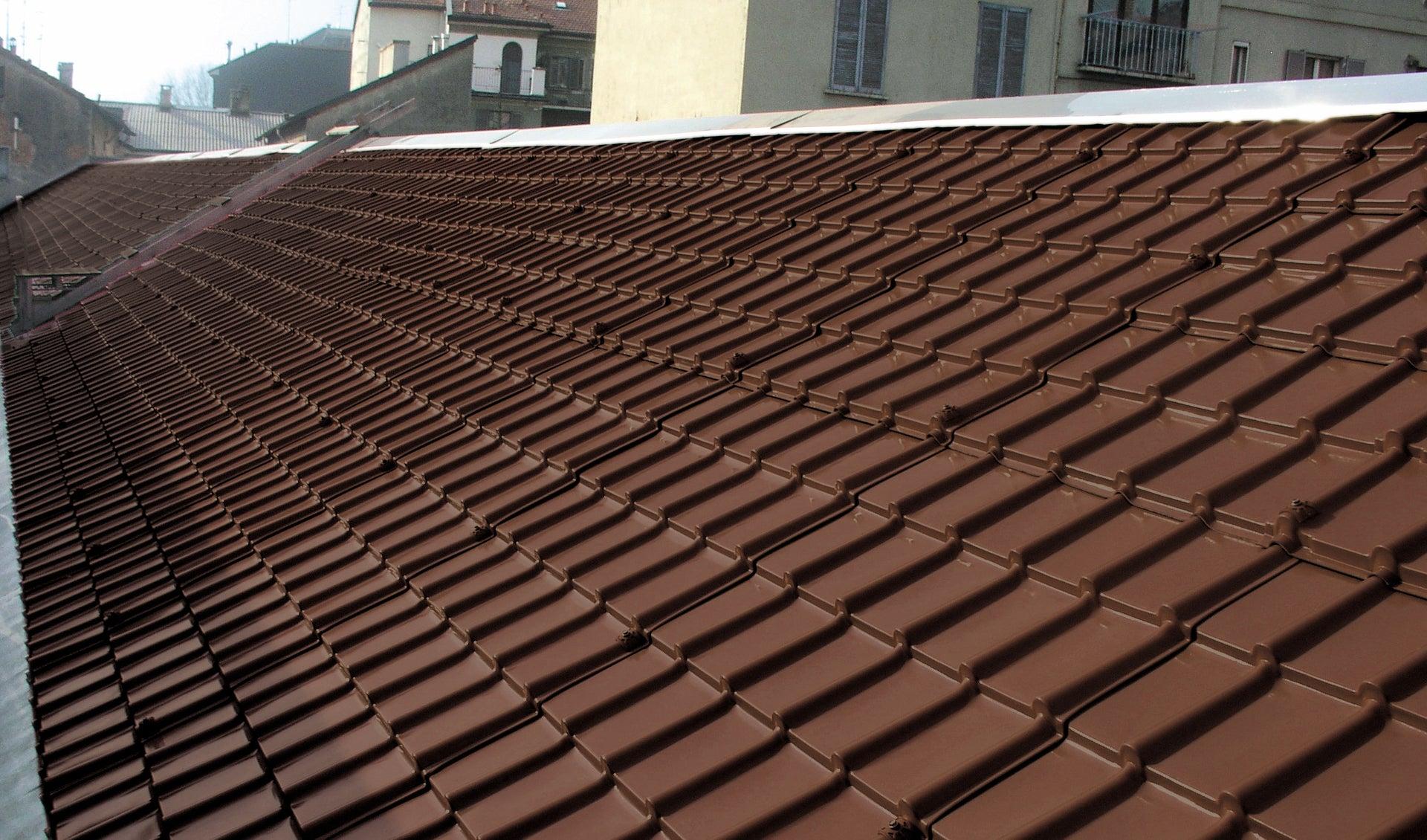 Plaque de toiture imitation tuile composite marron l.1.07 x L.2.08 m FIRST PLAST | Leroy Merlin