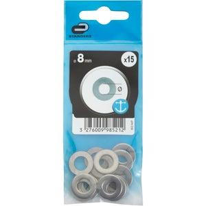 Lot de 15 rondelles inox, Diam.8 mm STANDERS