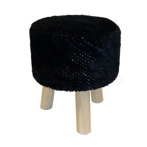 Image : Pouf d'intérieur noir Trépied fourrure, l.30 x H.35
