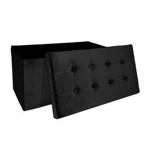 Image : Pouf d'intérieur noir Banc pliable velours, 76 x 38