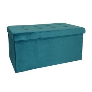 Image : Pouf d'intérieur bleu Banc pliable velours, 76 x 38