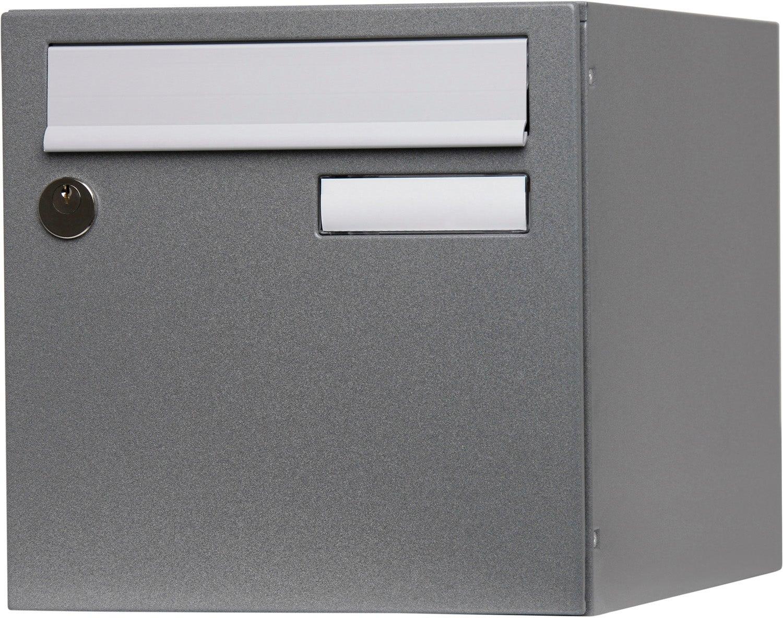 Boite Aux Lettres Normalisee 1 Porte Exterieur Renz Acier Gris Brillant Leroy Merlin