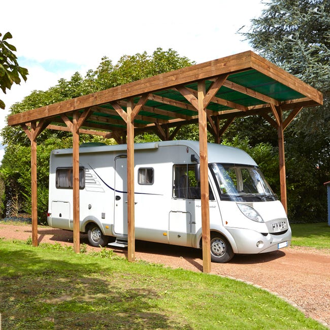 carport bois camping car 1 voiture 286 m²  leroy merlin