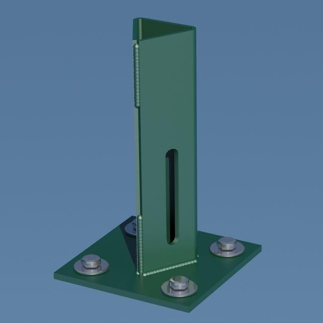 Platine Piquet Acier Galvanise Plastifie A Visser Vert H 15 Cm X Section 100x10 Leroy Merlin