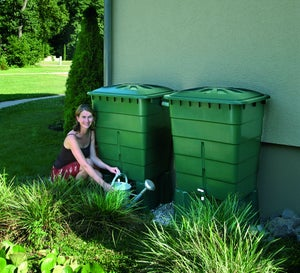 Récupérateur d'eau aérien GARANTIA rectangulaire vert, 600 l