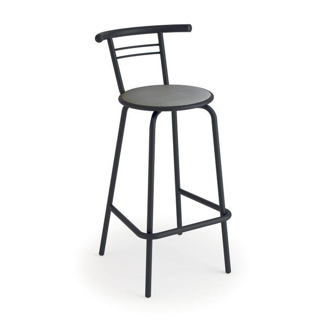 Tabouret De Bar Industriel Simili Cuir Gris Camie Leroy Merlin