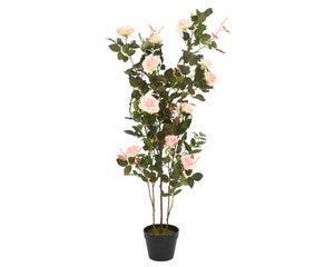 Botte de roses polyester en pot avec 16 fleurs  hauteur 130 cm rose doux