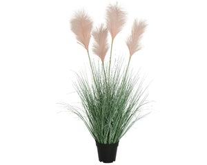 Herbes pampa artificiels en pot, 4 plumeaux roses diamètre 53 cm hauteur 92 cm