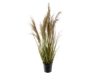 Herbes plast a/plume naturelle dans pot en plastique 115cm vert herbes plast a/p