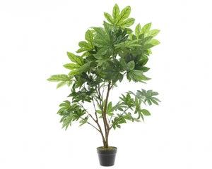Aralia en plastique a/67 feuilles d/pot 90x130cm vert