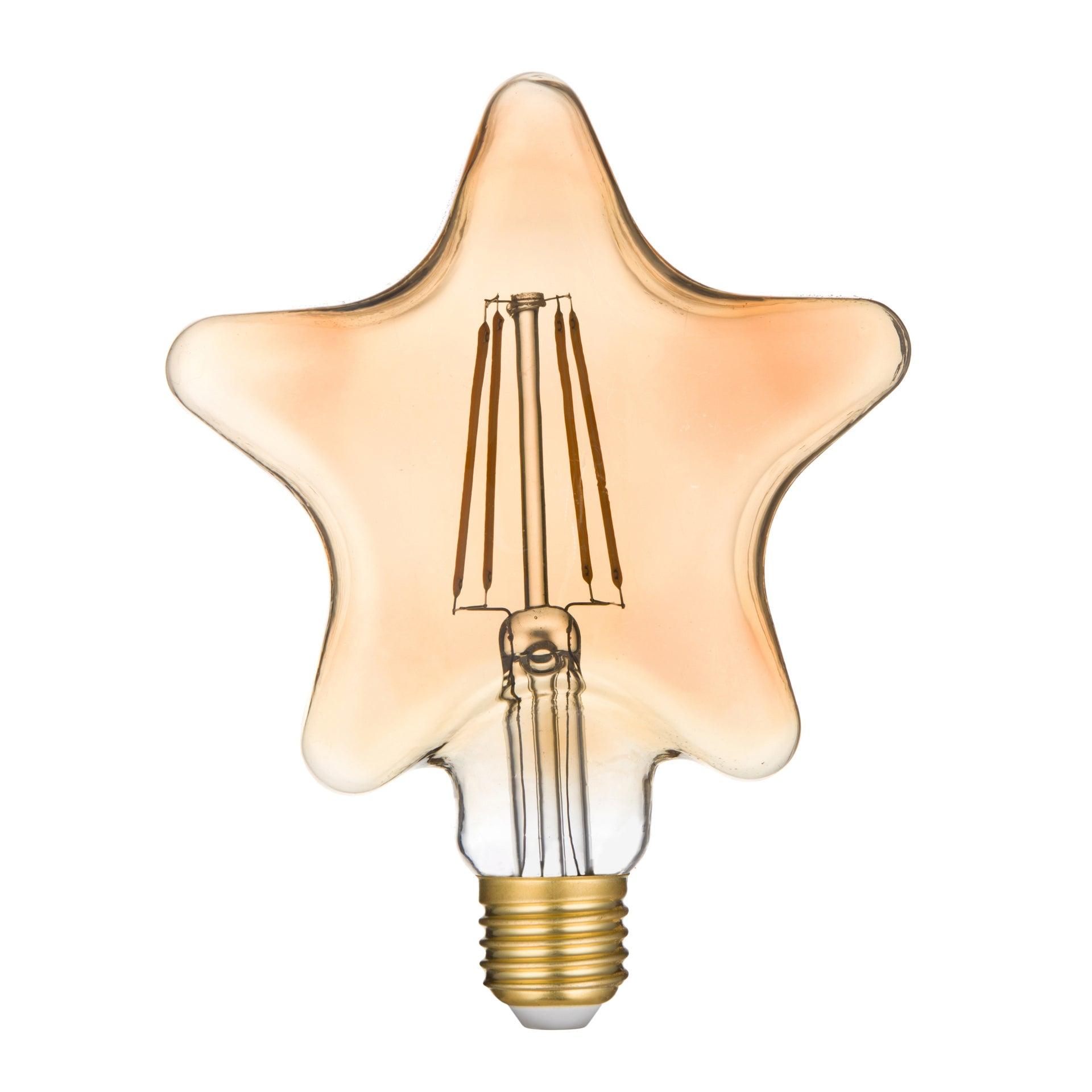 Ampoule led à filament ambré étoile E27 25 W blanc chaud, LEXMAN