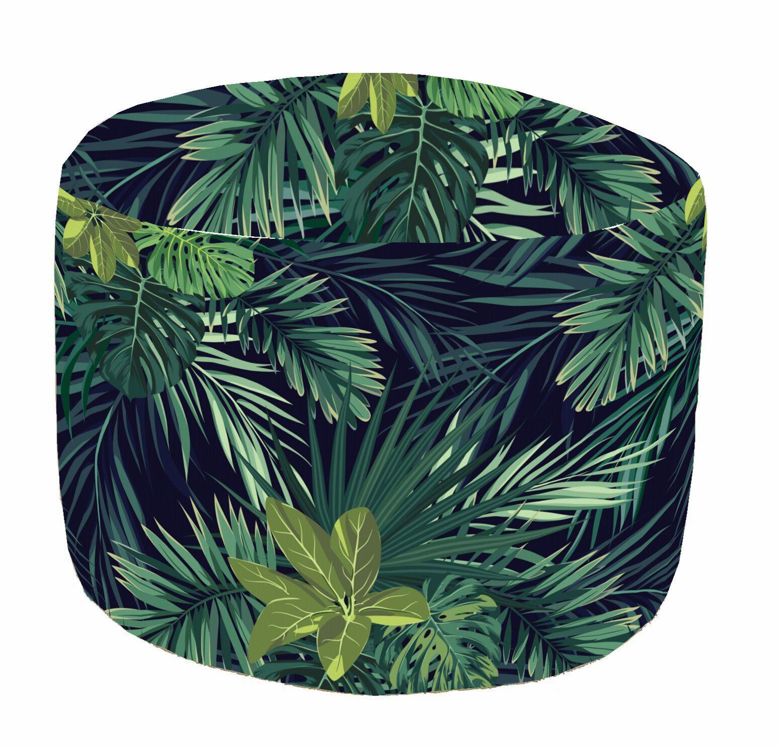 Pouf de sol vert Canopée, D 45 x H 45 cm