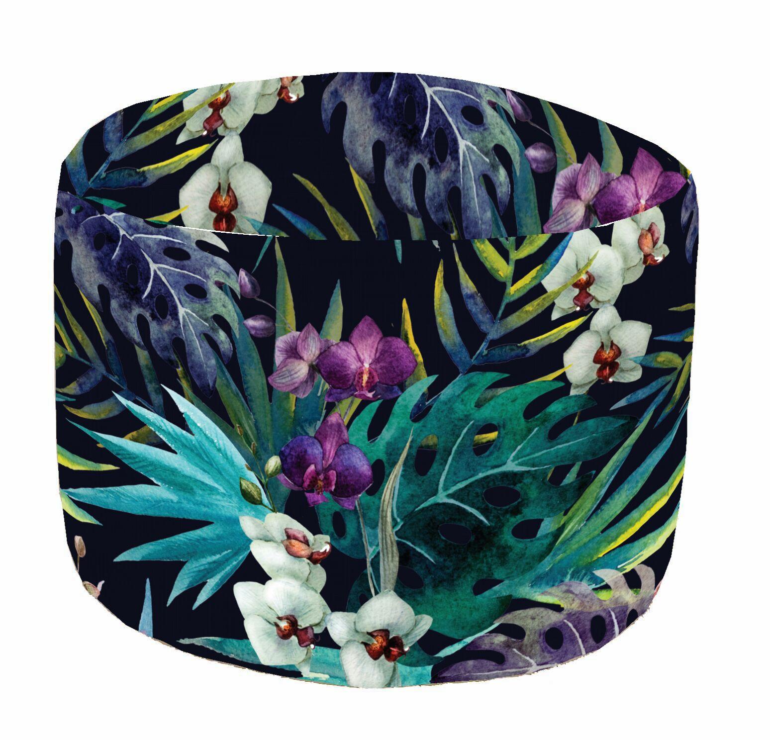 Pouf de sol multicolore Aquarelle, D 45 x H 35 cm