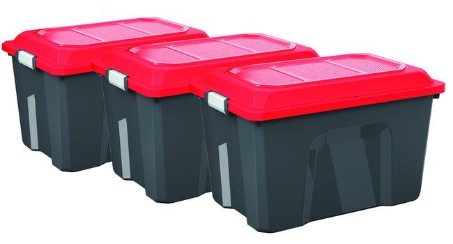 Lot De 3 Malles Sundis Plastique Noir Rouge Cm Cm Leroy Merlin
