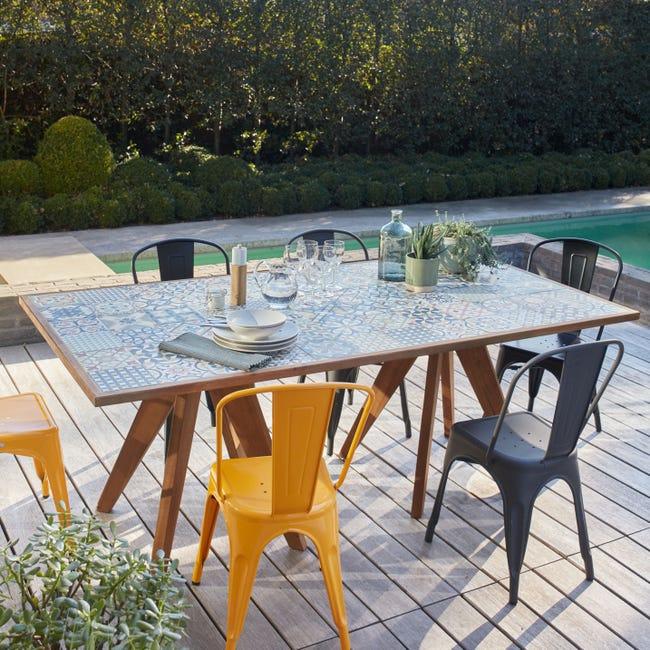 Table De Jardin De Repas Ceramique Rectangulaire Marron 6 8 Personnes Leroy Merlin