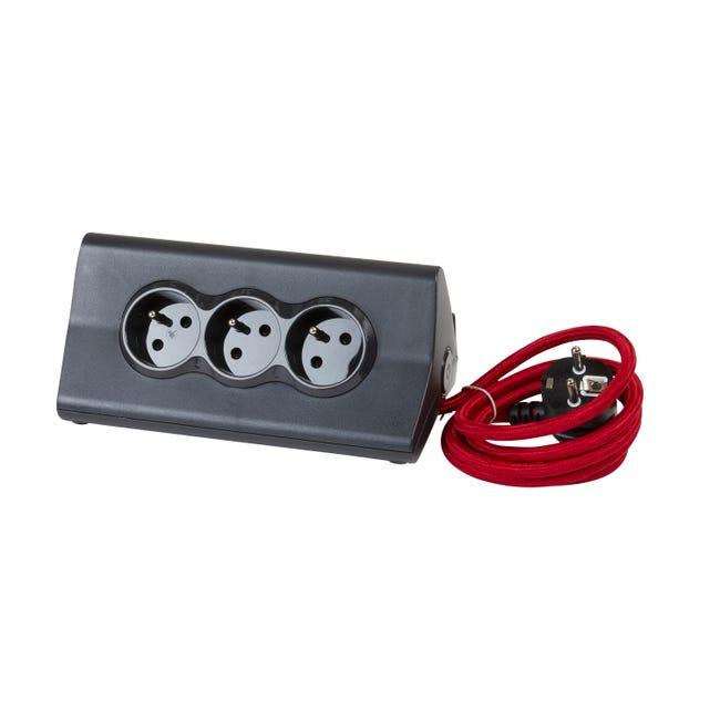Multiprise 2 Usb Compact Cable Textile Rouge 3 Prises Noir