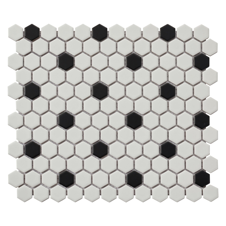Mosaique Sol Et Mur Hexagon Noir Blanc 30 X 26 Cm Artens Leroy Merlin