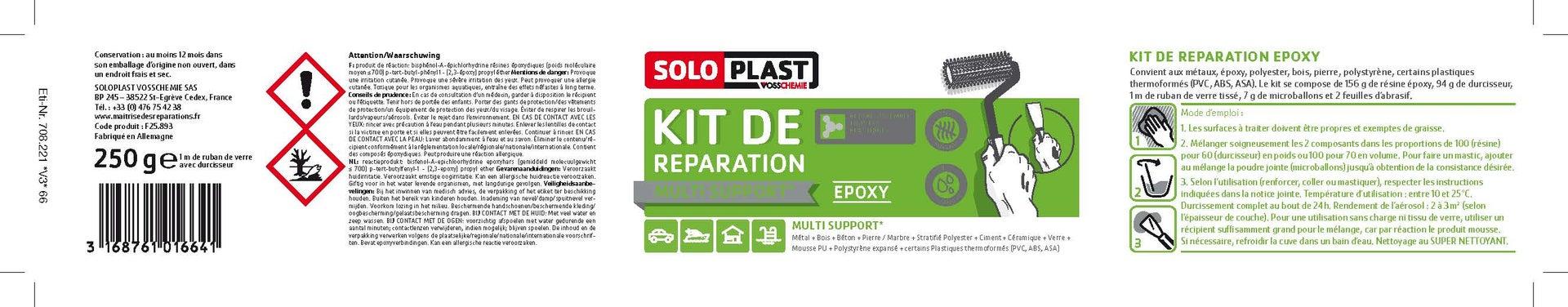 Kit De Reparation Epoxy Transparent Soloplast 250g Leroy Merlin