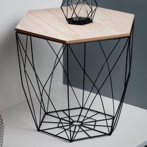 Image : Table d'appoint Panière filaire, noir et bois naturel, l.40 x H.40.5 cm
