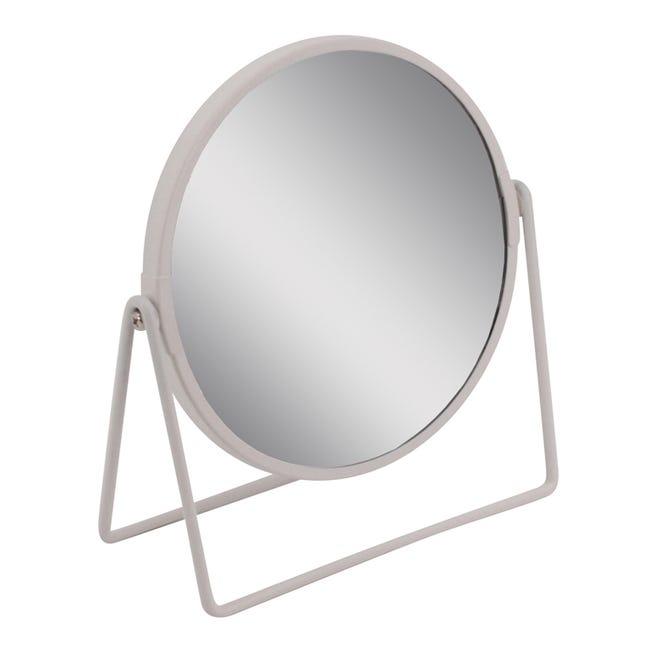 Miroir Grossissant X 2 Rond A Poser H 16 X L 16 X P 8 5 Cm Basic Blanc Leroy Merlin