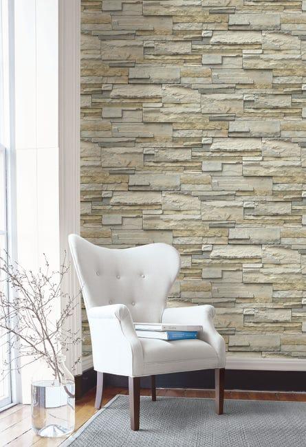 Papier Peint Vinyle Structure Mur De Pierre Naturel Leroy Merlin