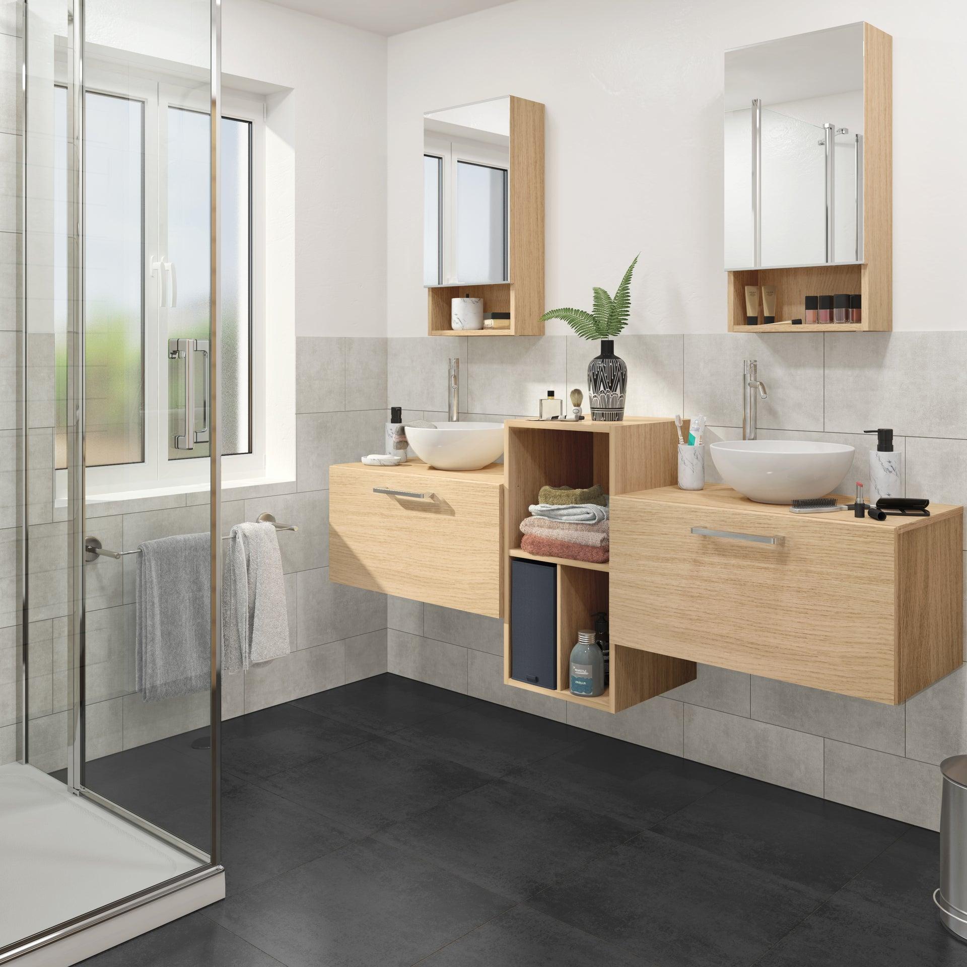 Meuble De Salle De Bains Simple Vasque L 70 X H 35 9 X P 38 Cm Effet Chene Natu Leroy Merlin
