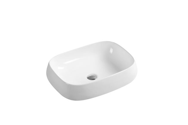 Vasque A Poser Ceramique L 56 X P 42 Cm Blanc Carole Leroy Merlin