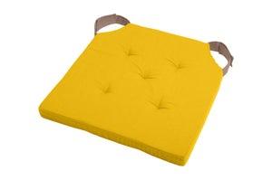 Galette de chaise Duo coton, moutarde / taupe l.38 x H.38 cm