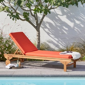 Image : Coussin d'assise de chaise ou de fauteuil Perla, tuile l.60 x H.6 cm