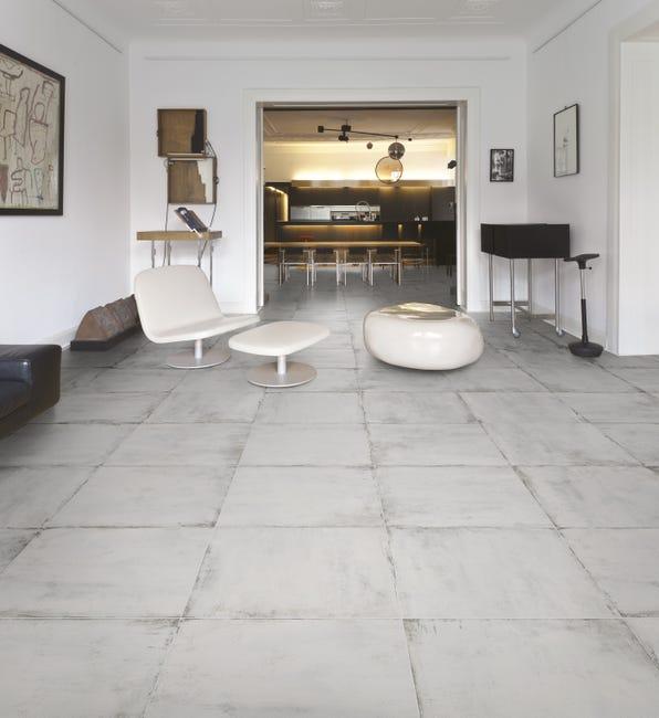 Carrelage Sol Et Mur Intenso Effet Beton Blanc Manhattan L 59 5 X L 59 5 Cm Leroy Merlin