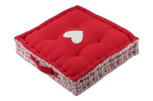 Coussin de sol Darla coton, rouge & blanc l.45 x H.10 cm