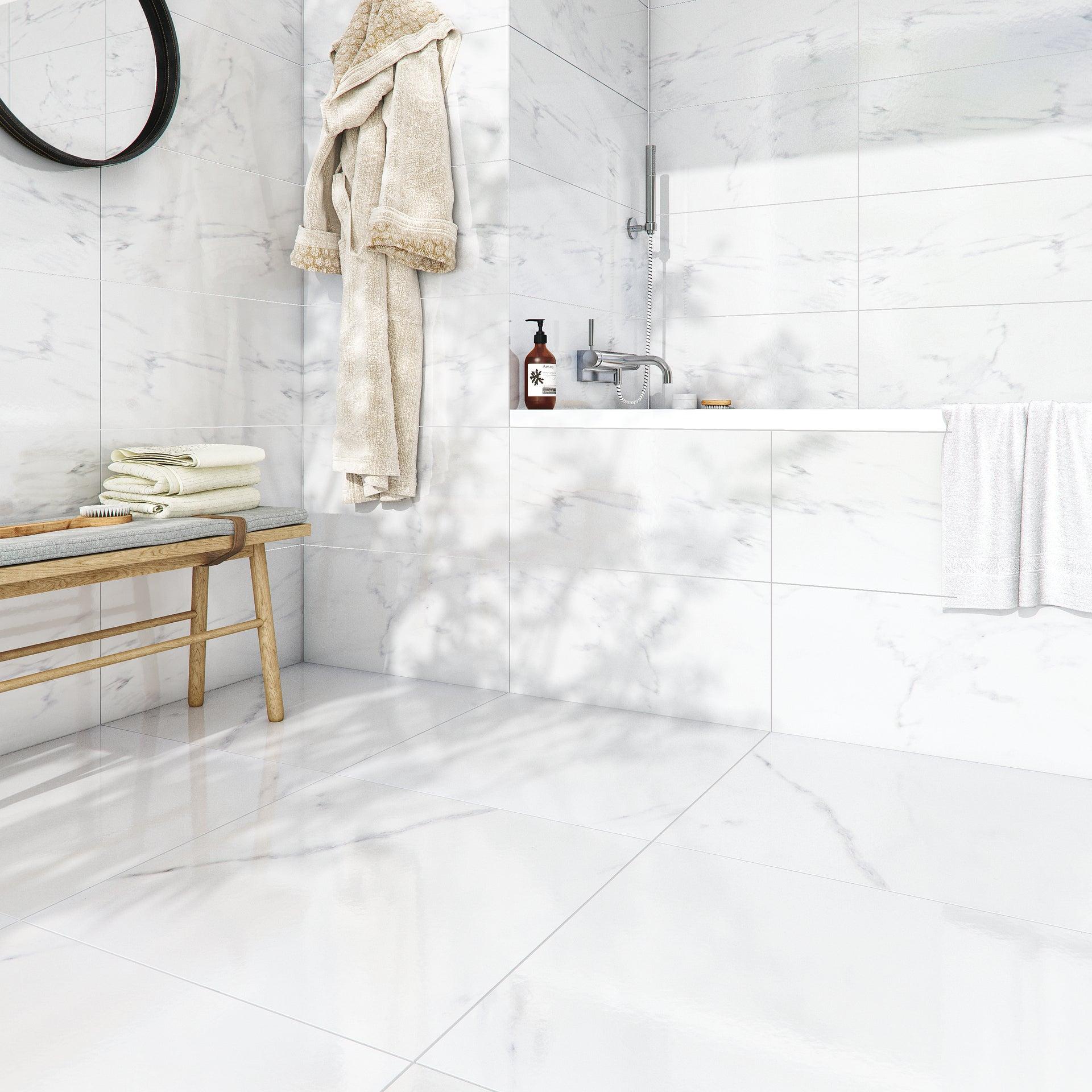 Carrelage sol et mur forte effet marbre blanc Santorini l.10 x L.10 cm  ARTENS