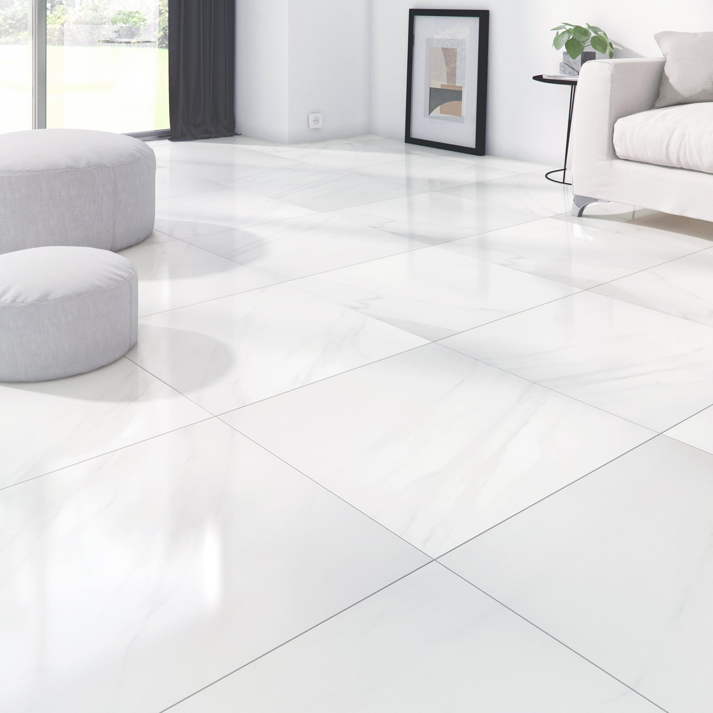 Carrelage sol et mur intenso effet marbre blanc Marmi l.8 x L.8 cm ARTENS