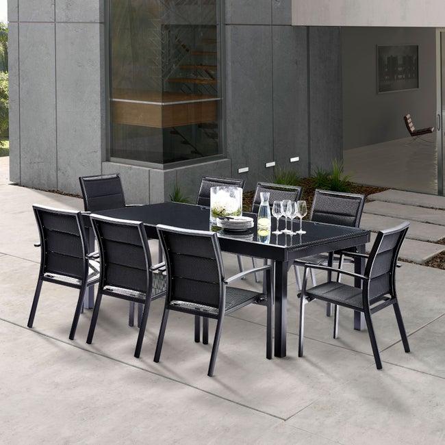 Salon de jardin Wilsa modulo t8/12 aluminium noir, 8 ...