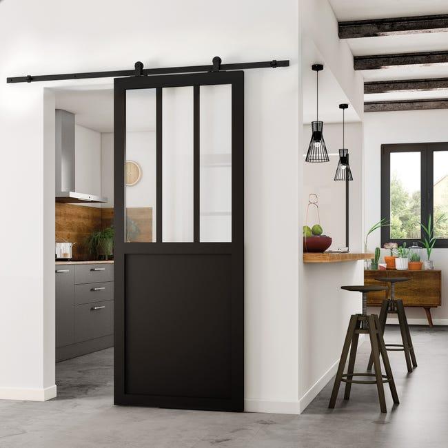 Porte Coulissante Atelier Vitree Fabrik Noir H 204 X L 73 Cm Leroy Merlin