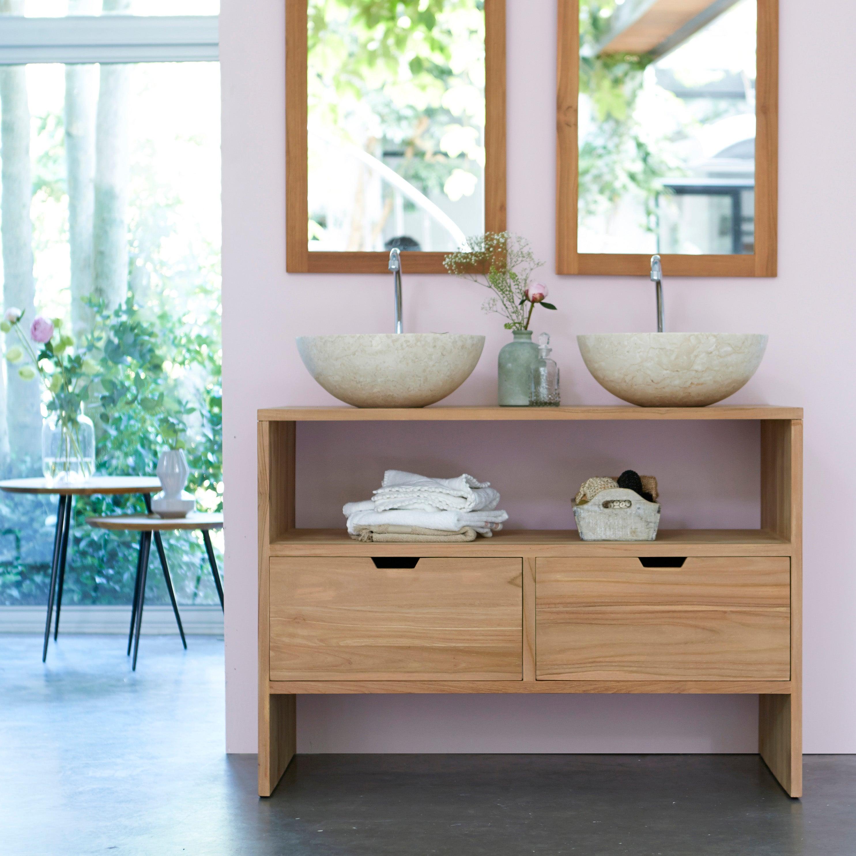 Meuble de salle de bains double vasque l.16 x H.16 x P.16 cm, teck  naturel, Kwa
