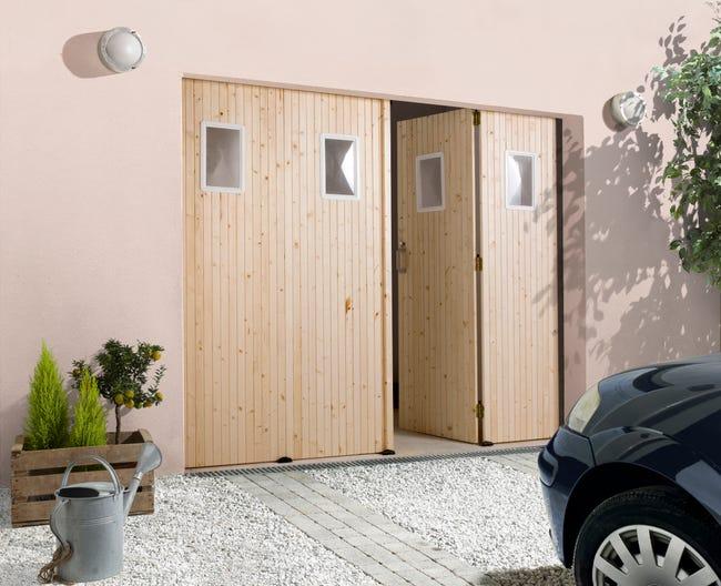 Porte De Garage Pliante Manuelle Primo 200 X 240 Cm Avec Hublot Leroy Merlin