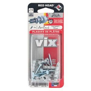 Image : Lot de 10 chevilles et vis à visser vix RED HEAD, Diam.12 x L.30 mm