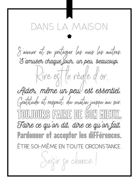 Affiche Regles Dans La Maison L 50 X H 70 Cm Leroy Merlin