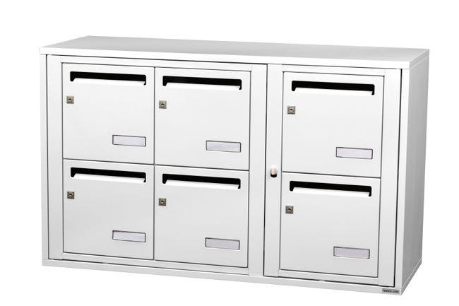 Boite Aux Lettres Collective Interieur Leabox Com 3x2 Acier Blanc Brillant Leroy Merlin