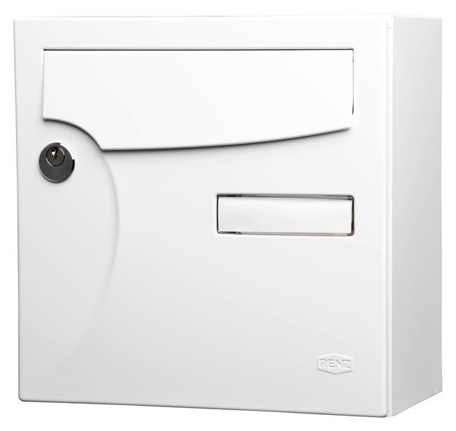 Boite Aux Lettres Normalisee 1 Porte Exterieur Renz Acier Blanc Brillant Leroy Merlin