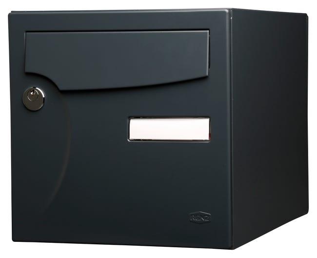 Boite Aux Lettres Normalisee 1 Porte Exterieur Renz Acier Anthracite Mat Leroy Merlin