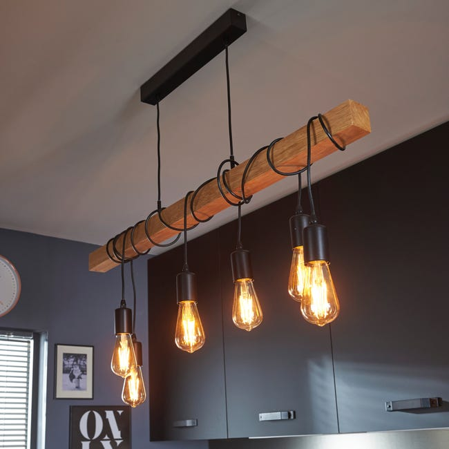 Suspension, industriel métal hètre EGLO Townshend L.100 cm, 6 lumière(s) D.38 cm