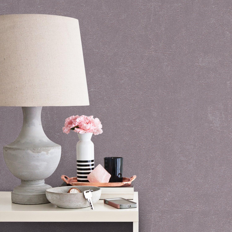 Papier peint vinyle sur intissé Béton métal violet fog